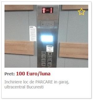 Inchiriere loc de PARCARE in garaj, ultracentral Bucuresti